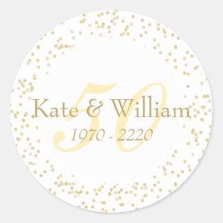 50th Wedding Anniversary Gold Dust Confetti Round Sticker