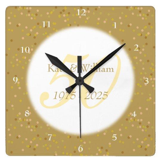50th Wedding Anniversary Gold Dust Confetti Square Wall Clock