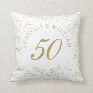 50th Wedding Anniversary Gold Dust Confetti Throw Pillow
