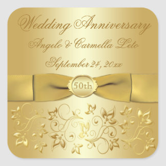 50th Wedding Anniversary Gold Floral Sticker