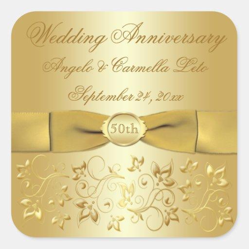 50th Wedding Anniversary Gold Floral Sticker