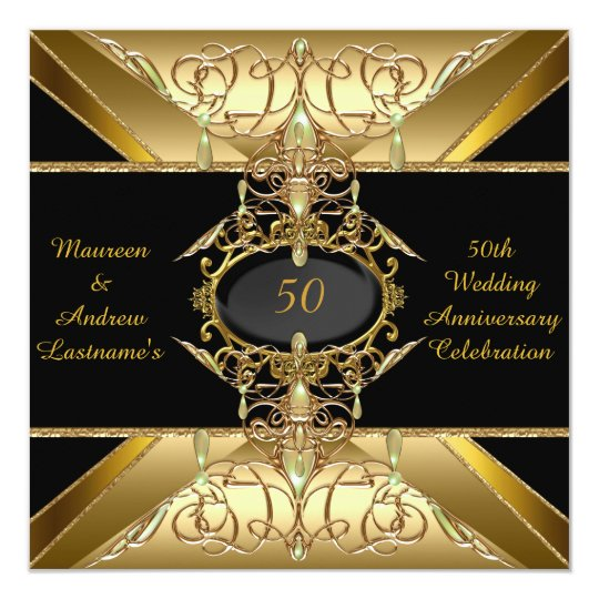 50th Wedding Anniversary Gold Golden Jewel Card