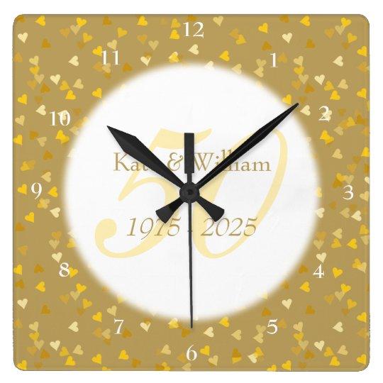 50th Wedding Anniversary Gold Hearts Confetti Square Wall Clock