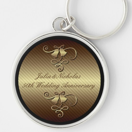 50th Wedding Anniversary Gold Key Chain