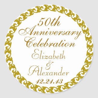 50th Wedding Anniversary-Gold Medallion Round Sticker