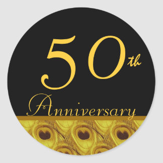 50th Wedding Anniversary Gold Peacock Feathers Round Sticker