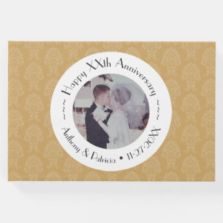50th Wedding Anniversary Gold Photo Damask Pattern Guest Book