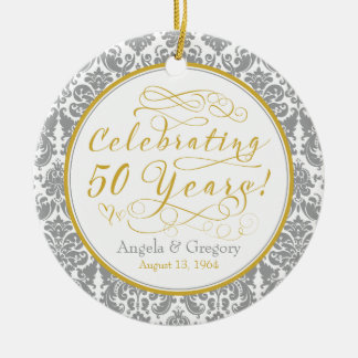 50th Wedding Anniversary Gold Silver Damask Hearts Christmas Ornament