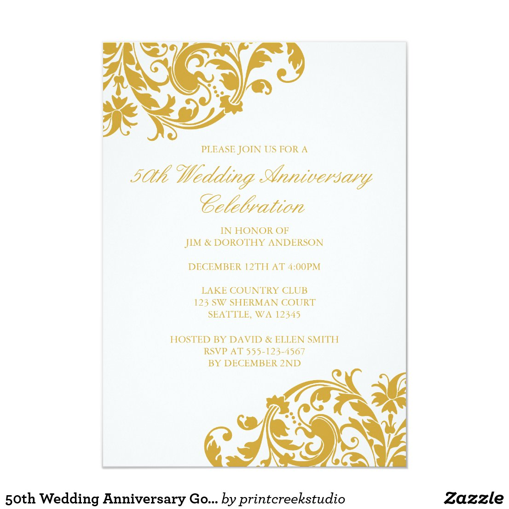 50th Wedding Anniversary Gold Swirl Flourish