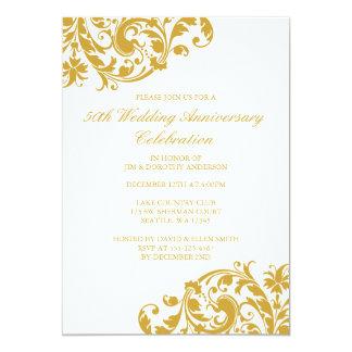 50th Wedding Anniversary Gold Swirl Flourish 13 Cm X 18 Cm Invitation Card