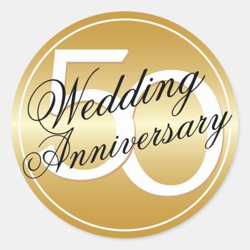 50th wedding anniversary gold toned sticker zazzle
