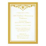 50th Wedding Anniversary Gold Vintage Flourish Personalized Invitation