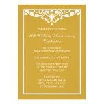50th Wedding Anniversary Gold Vintage Flourish Custom Invitations