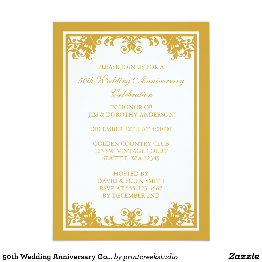 50th Wedding Anniversary Golden Flourish Scroll