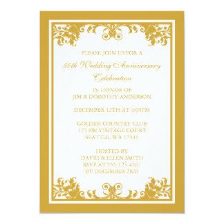 50th Wedding Anniversary Golden Flourish Scroll Card