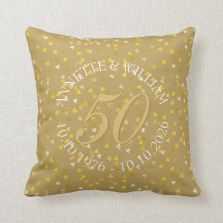 50th Wedding Anniversary Golden Hearts Confetti Cushion