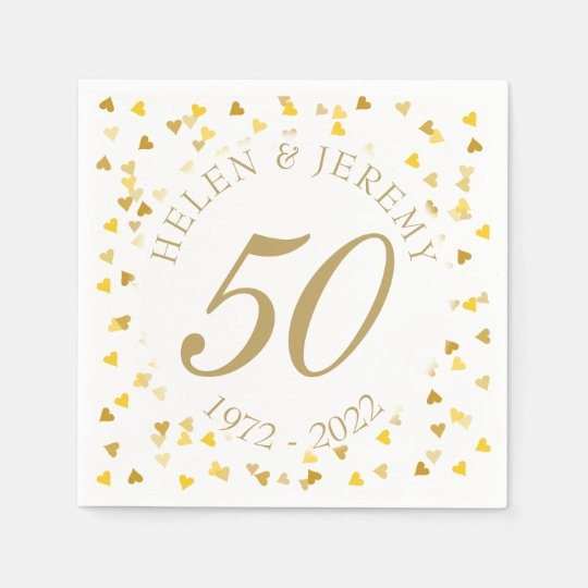 50th Wedding Anniversary Golden Hearts Confetti Disposable