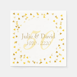 50th Wedding Anniversary Golden Hearts Confetti Disposable Napkins