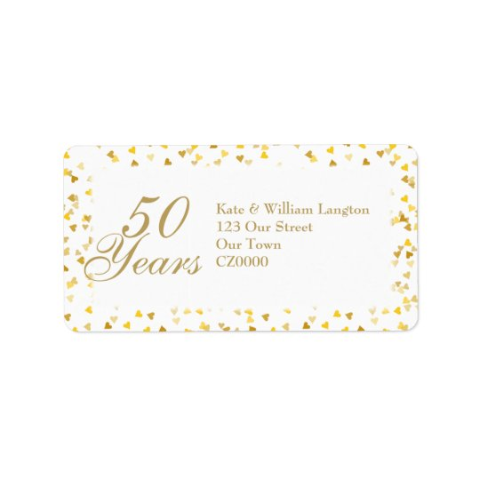 50th Wedding Anniversary Golden Hearts Confetti Label