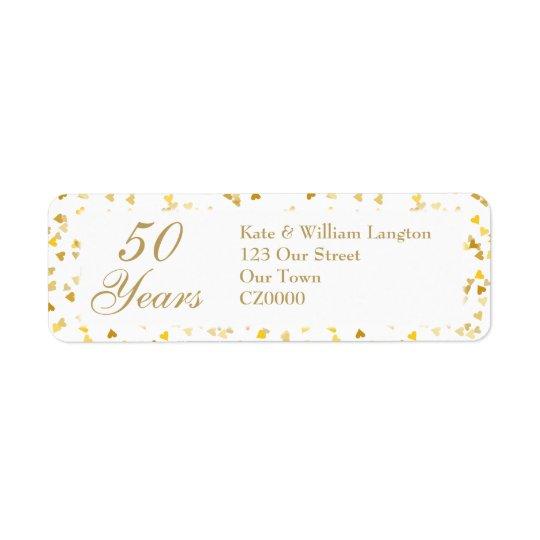50th Wedding Anniversary Golden Hearts Confetti Return Address Label