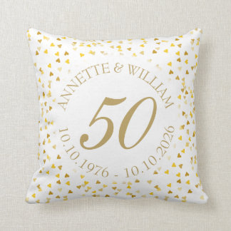 50th Wedding Anniversary Golden Hearts Confetti Throw Pillow