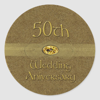 50th Wedding Anniversary - Golden seal Round Sticker