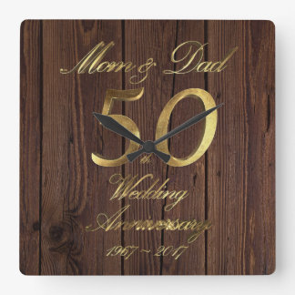 50th Wedding Anniversary Golden Wedding Parents Square Wall Clock