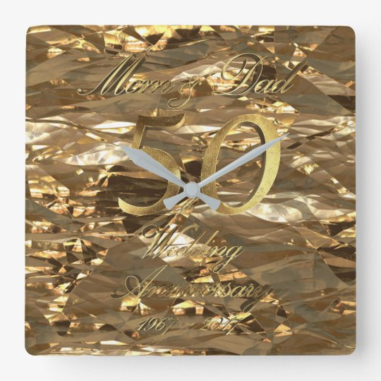 50th Wedding Anniversary Golden Wedding Parents Square Wall
