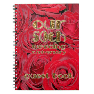 50th Wedding Anniversary Guest Book Gold Red Roses Note Book