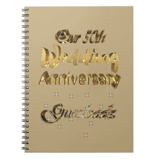 50th Wedding Anniversary Guest Book Gold Text