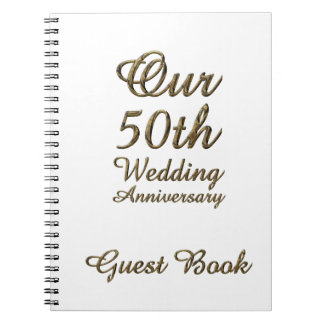 50th Wedding Anniversary Guest Book Gold White