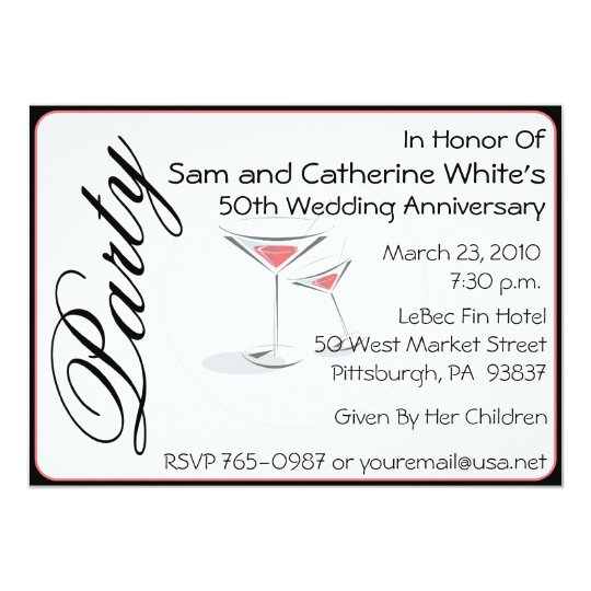50th Wedding Anniversary Invitation Cocktails