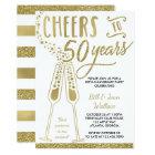 50th Wedding Anniversary Invitation, Faux Glitter Card