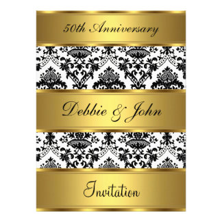 50th Wedding Anniversary Invitation Gold Damask Announcements