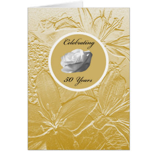 50th Wedding Anniversary Invitation -- Golden Greeting Card
