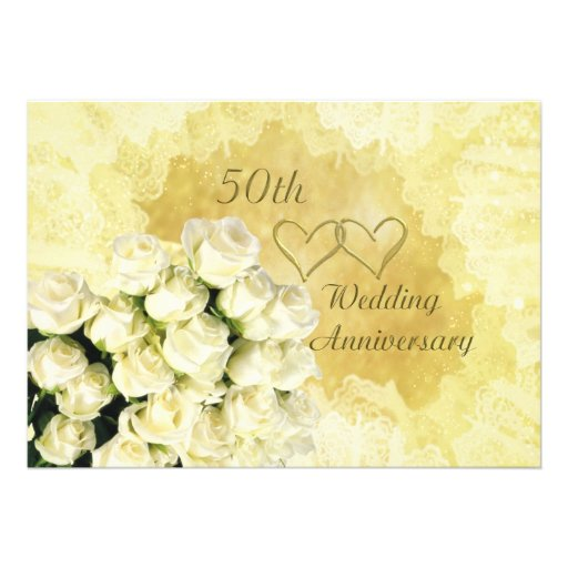 50th Wedding Anniversary Invitation with roses