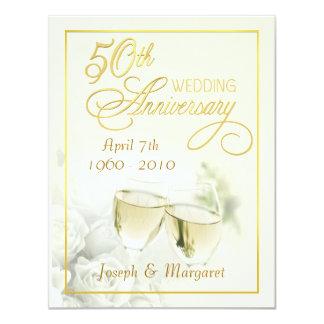 "50th Wedding Anniversary Invitations - Ivory Small 4.25"" X 5.5"" Invitation Card"