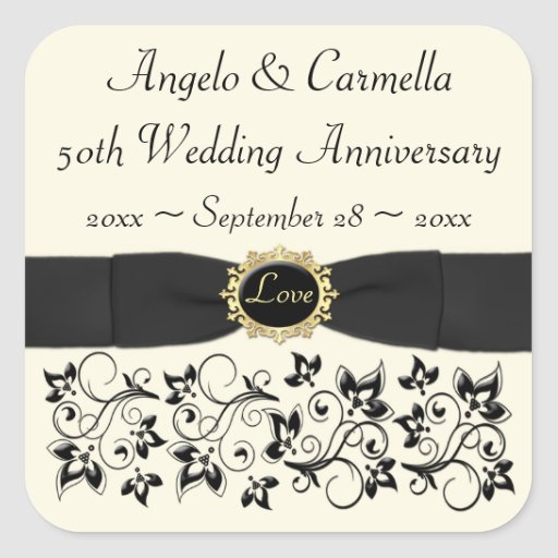 50th Wedding Anniversary Ivory Black Floral Stickers
