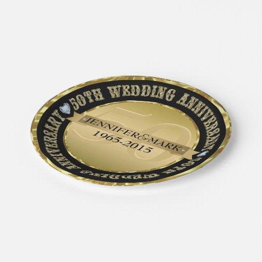 50Th Wedding Anniversary Metallic Gold And Black Paper