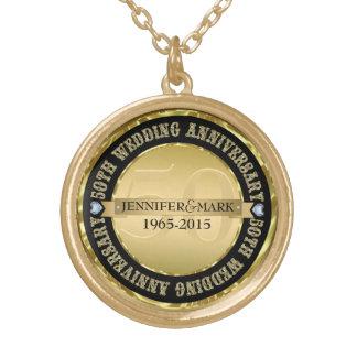 50Th Wedding Anniversary Metallic Gold & Black 2 Round Pendant Necklace