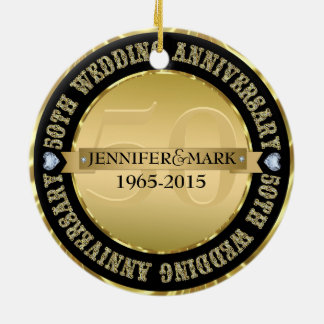 50Th Wedding Anniversary Metallic Gold & Black Double-Sided Ceramic Round Christmas Ornament
