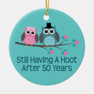 50th Wedding Anniversary Owls Christmas Ornament