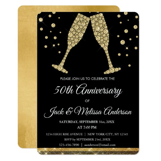 50th Wedding Anniversary Party Champagne Glasses Card