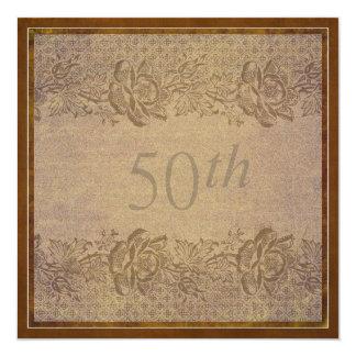50th Wedding Anniversary Party  Gold Floral Custom 13 Cm X 13 Cm Square Invitation Card