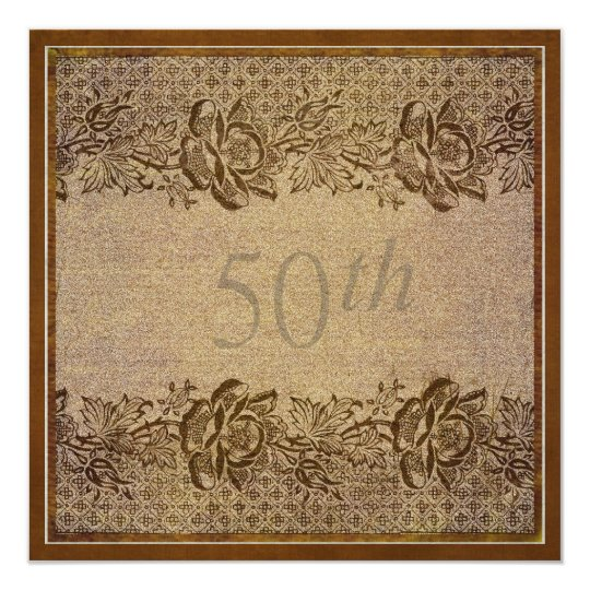 50th Wedding Anniversary Party Gold Floral Custom Card