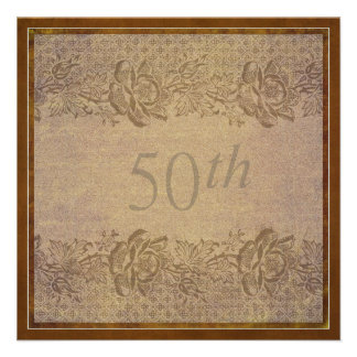 50th Wedding Anniversary Party in Gold Floral Personalized Announcements