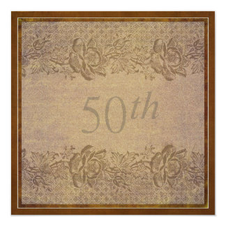 50th Wedding Anniversary Party in Gold Floral 13 Cm X 13 Cm Square Invitation Card
