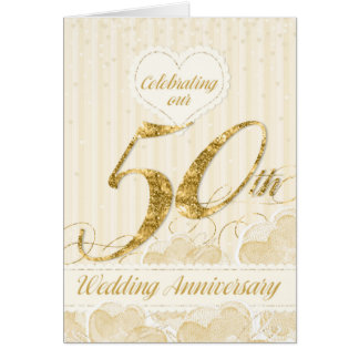 50th Wedding Anniversary Party Invitation - Golden Greeting Card