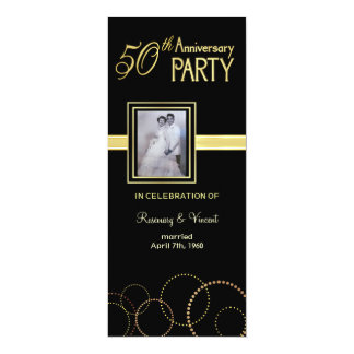 50th Wedding Anniversary Party - Photo Optional 10 Cm X 24 Cm Invitation Card