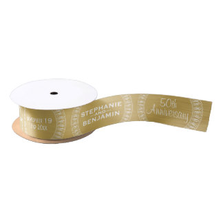 50th Wedding Anniversary Personalised gold Satin Ribbon
